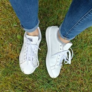 adidas Shoes - Adidas Cloud Foam White Lace Up Sneakers